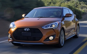 Картинка дорога, машина, скорость, Hyundai, Turbo, Veloster