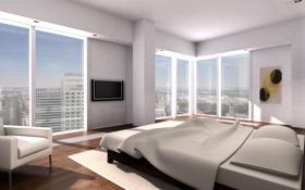 Картинка дизайн, стиль, комната, интерьер, мегаполис, спальня, апартаменты