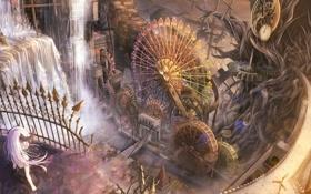Картинка девушка, город, водопад, аниме, арт, колесо обозрения, рога