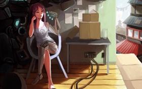 Обои девушка, комната, робот, future