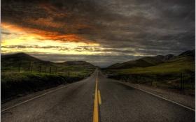 Обои дорога, небо, пейзаж, горы, тучи, разметка, обои