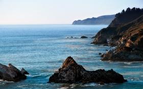 Обои море, горы, камни, голубое, даль