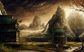 Картинка осень, листья, деревья, пейзаж, горы, дом, скалы