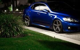 Обои машина, трава, ночь, куст, Lexus, лексус