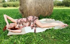 Картинка лето, трава, девушка, поза, улыбка, настроение, сено