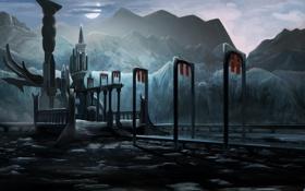Картинка горы, ночь, мост, озеро, камни, здание, арт