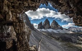 Картинка дорога, облака, горы, скалы, склон, Италия, Доломитовые Альпы
