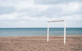 Картинка пляж, спорт, минимализм, ворота