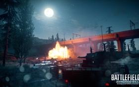 Картинка лес, ночь, мост, Battlefield 3, premium, armored kill