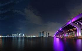 Обои фиолетовый, мост, ночь