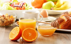 Обои булочка, бананы, яблоки, апельсины, завтрак, мед, еда