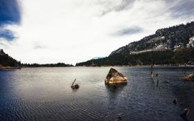 Обои Сичан, A Glacier Lake in Xichang, облака, вода, Озеро, China, Китай