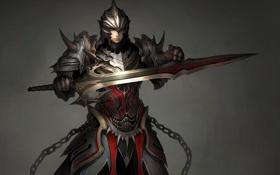 Картинка девушка, меч, воин, арт, шлем, броня, доспех