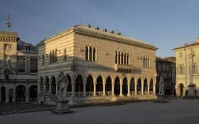 Обои дома, утро, площадь, Италия, колонна