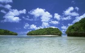 Картинка море, острова, облака, океан, япония, окинава