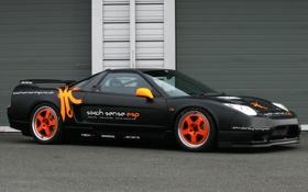 Обои машина, черная, гоночная, honda nsx