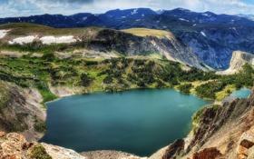 Обои горы, озеро, Wyoming, панорамма, Montana