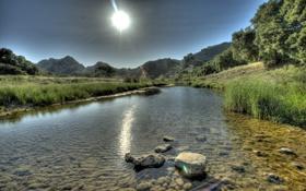 Картинка лето, пейзаж, река, камни