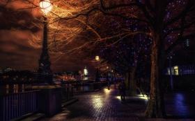 Обои London, Англия, ночь, фонари