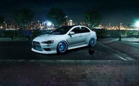 Обои белый, ночь, брусчатка, Mitsubishi, Lancer, white, Evolution