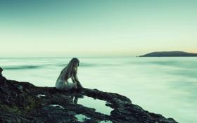Обои девушка, настроение, море