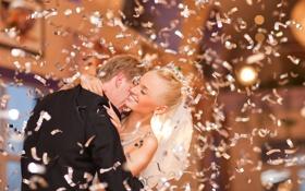 Обои девушка, радость, смех, блондинка, парень, свадьба, конфетти