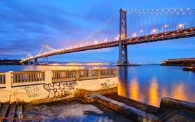 Картинка Сан-Франциско, california, twilight, калифорния, san francisco, bay bridge