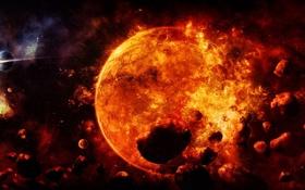 Картинка энергия, солнце, космос, взрыв, земля, планеты, арт
