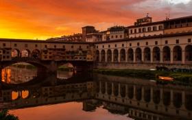 Обои небо, закат, мост, река, Италия, зарево, Флоренция