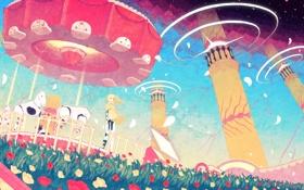 Картинка цветы, ветер, рисунок, лошади, девочка, аттракционы, карусель