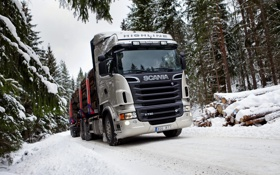 Обои Снег, Лес, Грузовик, Scania, Лесовоз, R730