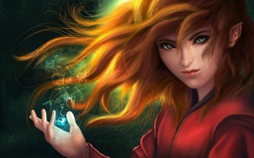 Картинка девушка, магия, арт, рыжая, эльфийка, The Little Hero