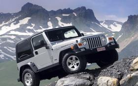 Обои горы, джип, внедорожник, передок, jeep, wrangler, рубикон