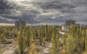 Обои осень, тучи, пасмурно, Чернобыль, Припять, Украина