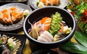 Обои рыба, декор, морепродукты, японская кухня, тофу