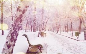 Картинка Зима, Снег, Лавочка