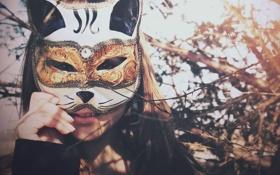 Картинка кошка, девушка, ветки, маска