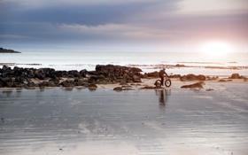 Обои море, небо, пейзаж, велосипед