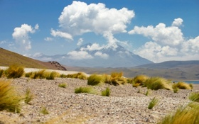 Обои rock, desert, cloud, mountain, sand, chile, atacama