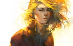Картинка art, арт, девушка, лицо, свет
