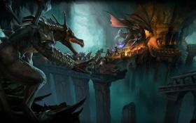 Обои драконы, битва, подземелье, путники, Drakensang Online