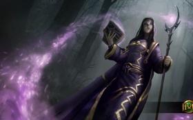 Обои книга, Martyr, посох, девушка, Heroes of Newerth, Sister Death, смерть