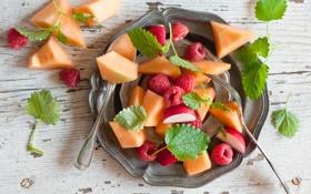 Обои ягоды, малина, фрукты, персики, фруктовый салат