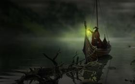Обои свет, озеро, Лодка, фэнтези, арт, фонарь, Чумной доктор