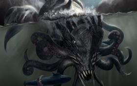 Картинка море, глубина, подводная лодка, submarine, kraken