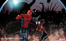 Обои комикс, Человек-паук, Marvel, comics, Spider-Man, страх, двое