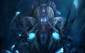 Картинка девушка, фэнтези, арт, медузы, под водой