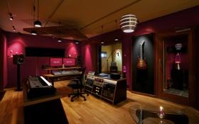 Обои дизайн, стиль, комната, интерьер, студия, saga recording control room