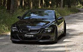 Обои дорога, лес, чёрный, BMW, G-Power
