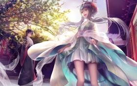 Картинка Девушки, веер, кимоно, улыбки